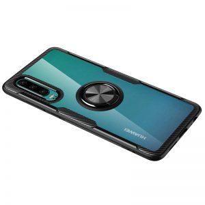 Cиликоновый чехол Deen CrystalRing c креплением под магнитный держатель для Huawei P30 – Черный
