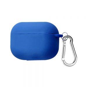 Силиконовый чехол для наушников + карабин для Apple Airpods Pro – Синий / Royal blue