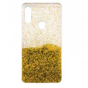 Cиликоновый чехол с блестками Fashion для Huawei P Smart Plus / Nova 3i – Gold