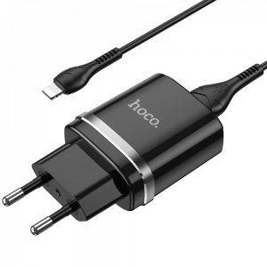 Сетевое зарядное устройство Hoco N1 Ardent + кабель Lightning 1USB / 2.4A – Black