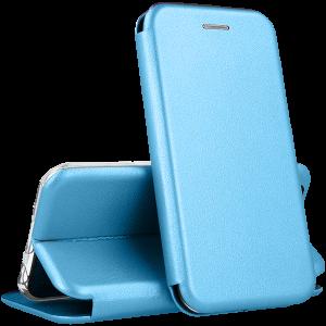 Кожаный чехол-книжка 360 с визитницей для Meizu 16th / 16 / 16X – Голубой