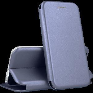 Кожаный чехол-книжка 360 с визитницей для Meizu 16th / 16 / 16X – Серый