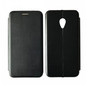 Кожаный чехол-книжка 360 с визитницей для Meizu M5 – Black