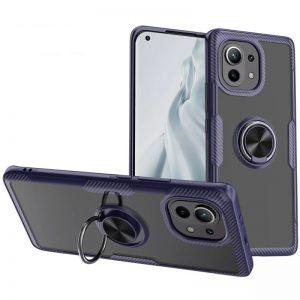 Cиликоновый чехол Deen CrystalRing c креплением под магнитный держатель для Xiaomi Mi 11 – Темно-синий