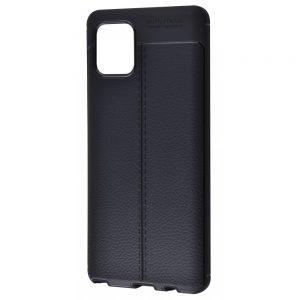 TPU чехол фактурный (с имитацией кожи) для Samsung Galaxy Note 10 Lite – Черный