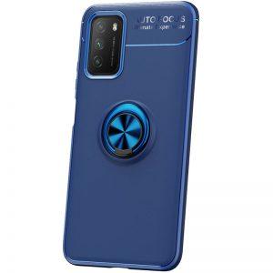 Cиликоновый чехол Deen ColorRing c креплением под магнитный держатель для Xiaomi Poco M3 – Синий