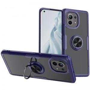 Cиликоновый чехол Deen CrystalRing c креплением под магнитный держатель для Xiaomi Mi 11 – Синий