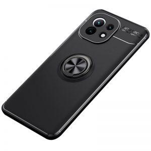 Cиликоновый чехол Deen ColorRing c креплением под магнитный держатель для Xiaomi Mi 11 – Черный