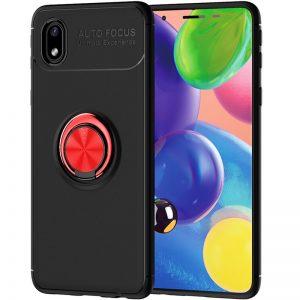 Cиликоновый чехол Deen ColorRing c креплением под магнитный держатель для Samsung Galaxy A01 Core / M01 Core  – Черный / Красный