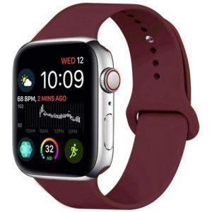 Ремешок силиконовый Sport Band для Apple Watch 38 mm / 40 mm / SE 40 mm (S/M) – Бордовый / Maroon