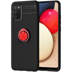 Cиликоновый чехол Deen ColorRing c креплением под магнитный держатель для Samsung Galaxy A02s – Черный / Красный