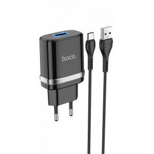 Сетевое зарядное устройство Hoco N1 Ardent + кабель Type-C 1USB / 2.4A – Black