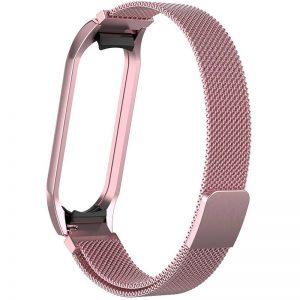 Ремешок Milanese Loop для фитнес-браслета Xiaomi Mi Band 5 / 6 – Rose gold