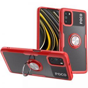 Cиликоновый чехол Deen CrystalRing c креплением под магнитный держатель для Xiaomi Poco M3 – Красный
