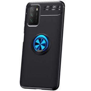 Cиликоновый чехол Deen ColorRing c креплением под магнитный держатель для Xiaomi Poco M3 – Черный / Синий