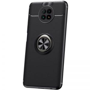 Cиликоновый чехол Deen ColorRing c креплением под магнитный держатель для Xiaomi Redmi Note 9T  – Черный