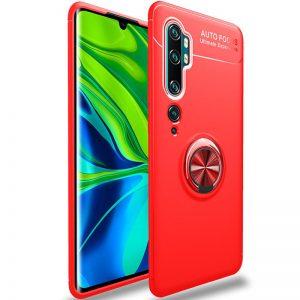 Cиликоновый чехол Deen ColorRing с креплением под магнитный держатель для Xiaomi Mi Note 10 / Mi Note 10 Pro – Красный