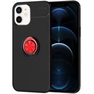 Cиликоновый чехол Deen ColorRing c креплением под магнитный держатель для Iphone 12 Mini – Черный / Красный