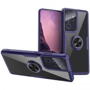 Чехол TPU+PC Deen CrystalRing с креплением под магнитный держатель для Samsung Galaxy S21 Ultra – Синий