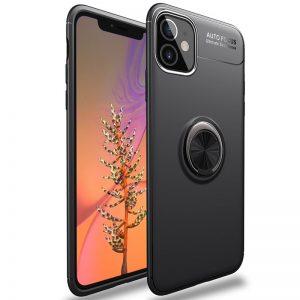 Cиликоновый чехол Deen ColorRing c креплением под магнитный держатель для Iphone 12 Mini – Черный