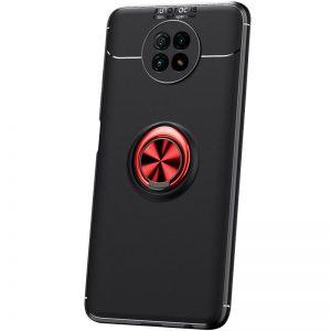 Cиликоновый чехол Deen ColorRing c креплением под магнитный держатель для Xiaomi Redmi Note 9T – Черный / Красный