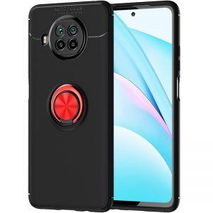 Cиликоновый чехол Deen ColorRing c креплением под магнитный держатель для Xiaomi Mi 10T Lite – Черный / Красный