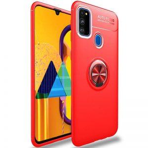 Cиликоновый чехол Deen ColorRing c креплением под магнитный держатель для Samsung Galaxy M30s  / M21  – Красный