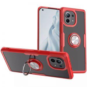 Cиликоновый чехол Deen CrystalRing c креплением под магнитный держатель для Xiaomi Mi 11 – Красный