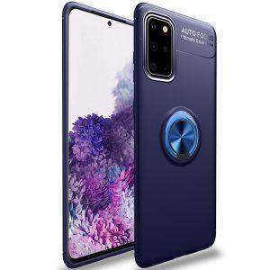 Cиликоновый чехол Deen ColorRing c креплением под магнитный держатель для Samsung Galaxy S20 – Синий