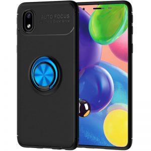 Cиликоновый чехол Deen ColorRing c креплением под магнитный держатель для Samsung Galaxy A01 Core / M01 Core  – Черный / Синий