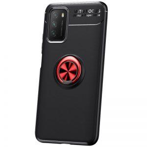 Cиликоновый чехол Deen ColorRing c креплением под магнитный держатель для Xiaomi Poco M3 – Черный / Красный