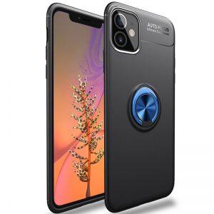 Cиликоновый чехол Deen ColorRing c креплением под магнитный держатель для Iphone 12 Mini – Черный / Синий
