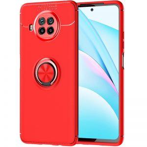 Cиликоновый чехол Deen ColorRing c креплением под магнитный держатель для Xiaomi Mi 10T Lite – Красный