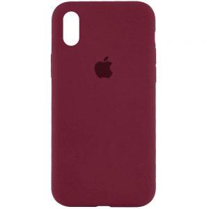 Оригинальный чехол Silicone Case 360 с микрофиброй для Iphone XR – Бордовый / Plum