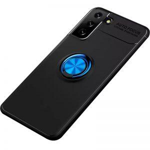 Cиликоновый чехол Deen ColorRing c креплением под магнитный держатель для Samsung Galaxy S21 Plus – Черный / Синий