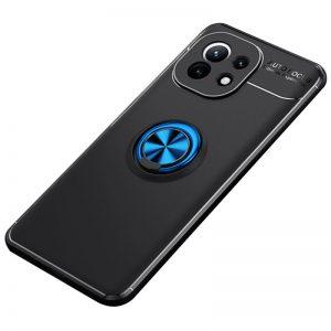Cиликоновый чехол Deen ColorRing c креплением под магнитный держатель для Xiaomi Mi 11 – Черный / Синий