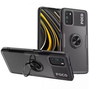 Cиликоновый чехол Deen CrystalRing c креплением под магнитный держатель для Xiaomi Poco M3 – Черный