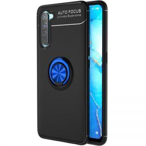 Cиликоновый чехол Deen ColorRing c креплением под магнитный держатель для Realme 6 Pro – Черный / Синий