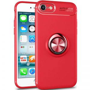 Cиликоновый чехол Deen ColorRing c креплением под магнитный держатель для Iphone 7 / 8 / SE (2020) – Красный