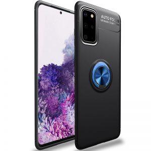 Cиликоновый чехол Deen ColorRing c креплением под магнитный держатель для Samsung Galaxy S20 – Черный / Синий