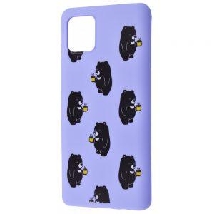 TPU чехол WAVE Fancy Case для Samsung Galaxy Note 10 Lite – Bears with tea / Light purple
