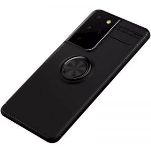 Cиликоновый чехол Deen ColorRing c креплением под магнитный держатель для Samsung Galaxy S21 Ultra – Черный