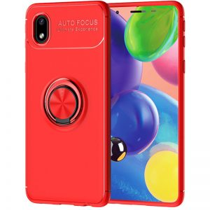 Cиликоновый чехол Deen ColorRing c креплением под магнитный держатель для Samsung Galaxy A01 Core / M01 Core  – Красный