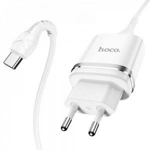 Сетевое зарядное устройство Hoco N1 Ardent + кабель Type-C 1USB / 2.4A – White