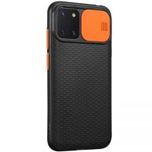 Чехол Camshield Black TPU со шторкой защищающей камеру для Samsung Galaxy Note 10 Lite – Черный / Оранжевый