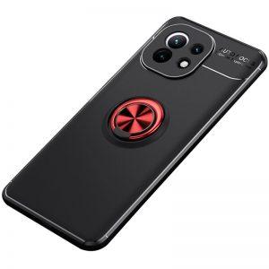 Cиликоновый чехол Deen ColorRing c креплением под магнитный держатель для Xiaomi Mi 11 – Черный / Красный