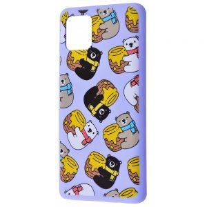 TPU чехол WAVE Fancy Case для Samsung Galaxy Note 10 Lite – Bears with a barrel of honey / Light purple