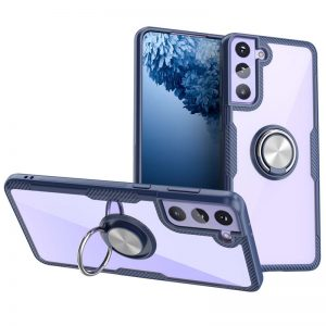 Чехол TPU+PC Deen CrystalRing с креплением под магнитный держатель для Samsung Galaxy S21 Plus —  Темно-синий