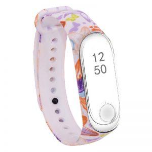 Ремешек для фитнес-браслета Xiaomi Mi Band 3 / 4 с рисунком – Фиолетовые бабочки / Белый