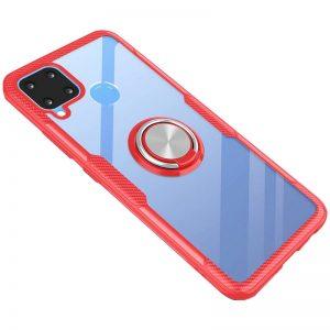 Cиликоновый чехол Deen CrystalRing c креплением под магнитный держатель для Realme C15 / C12 – Красный